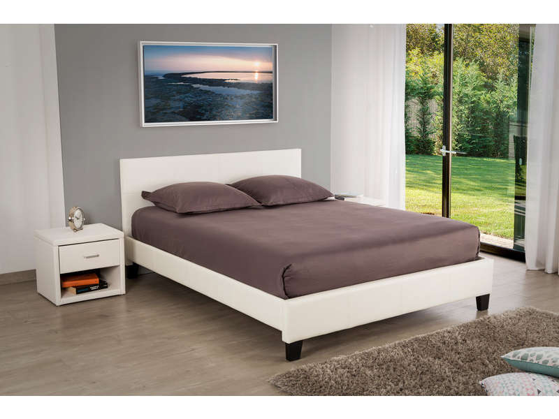 lit adulte 140x190 cm booba coloris blanc vente de lit adulte conforama. Black Bedroom Furniture Sets. Home Design Ideas