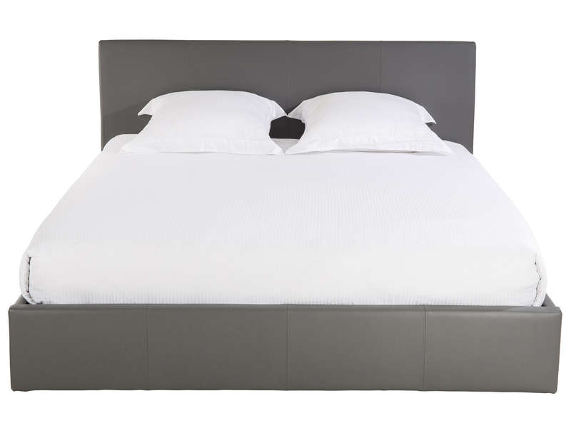 lit 140x190 cm avec sommier relevable skon coloris gris chez conforama. Black Bedroom Furniture Sets. Home Design Ideas