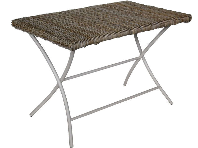 Table de jardin pliante 70 cm BORNEO coloris argile douce/naturel gris