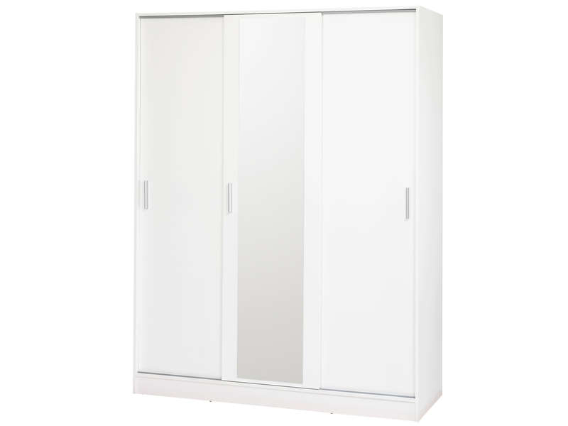 armoire 3 portes coulissantes miry coloris blanc vente. Black Bedroom Furniture Sets. Home Design Ideas