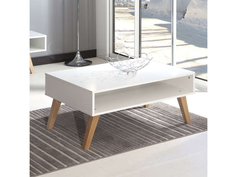 Table basse 1 niche dinavski coloris blanc h tre vente for Table basse scandinave conforama