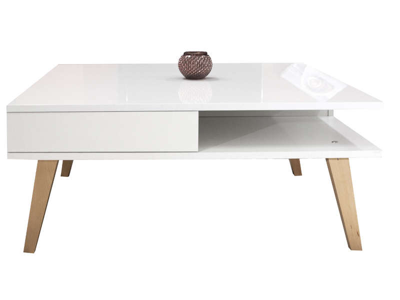 Table basse kwadra coloris blanc h tre vente de table for Table de jardin conforama