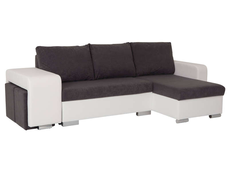 Canap d 39 angle convertible 4 places detroit coloris blanc for Canape d angle convertible 4 places