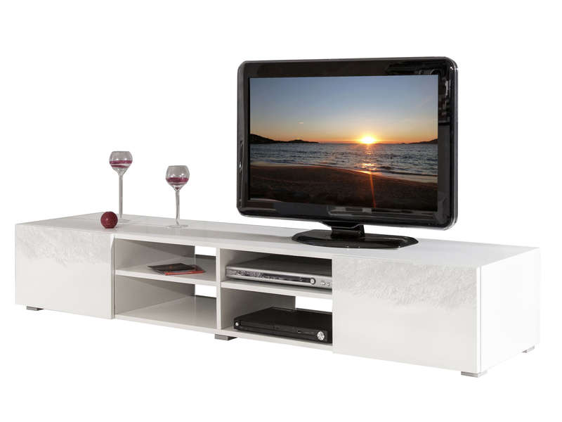 meuble tv 4 niches 2 tiroirs fa ades laqu es rayan coloris blanc laqu vente de meuble tv. Black Bedroom Furniture Sets. Home Design Ideas