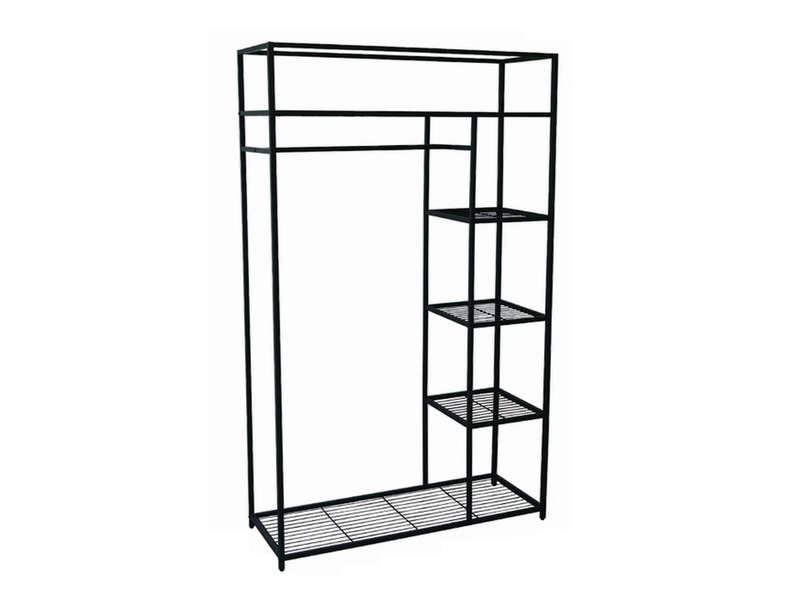 Structure Penderie 110x170 Cm Wardy Metal Coloris Noir