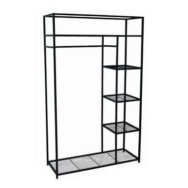 Structure penderie 110x170 cm wardy metal coloris noir for Conforama penderie