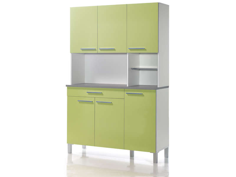 buffet de cuisine 120 cm debora coloris blanc vert acide. Black Bedroom Furniture Sets. Home Design Ideas