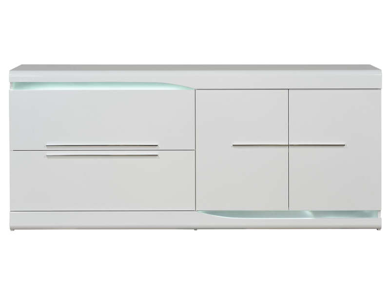 Buffet 2 tiroirs 2 portes ovio coloris blanc laqu for Buffet blanc laque conforama