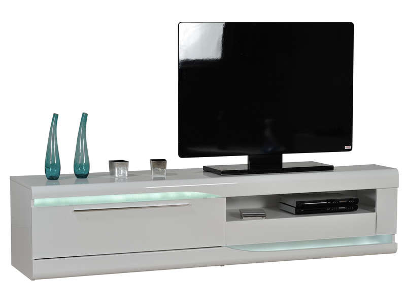 banc tv 46 cm finition laqu ovio colors blanc laqu vente de meuble tv conforama. Black Bedroom Furniture Sets. Home Design Ideas