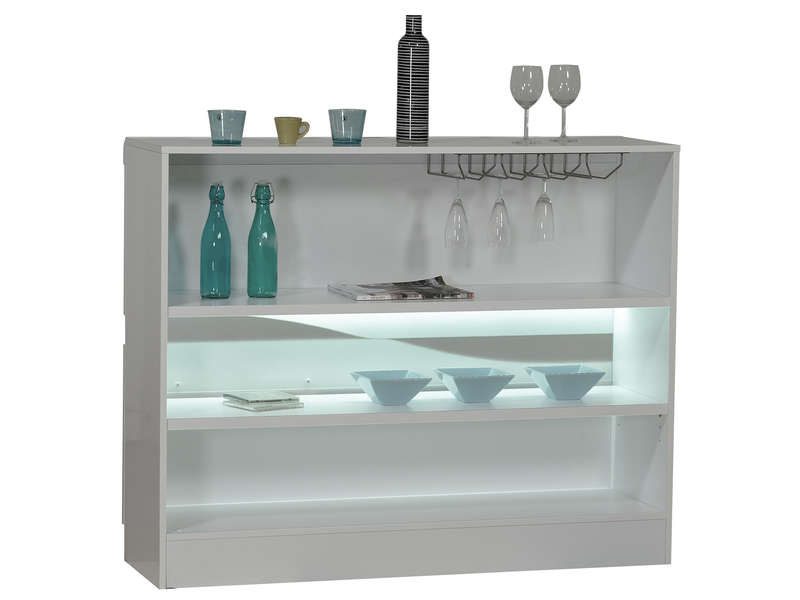 Bar ovio coloris blanc laqu vente de bar et tabouret de for Meuble bar laque blanc