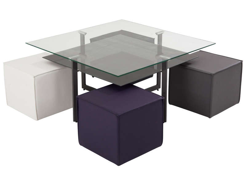 table basse carr e avec plateau en verre 4 poufs bolero coloris blanc gris violet et noir. Black Bedroom Furniture Sets. Home Design Ideas