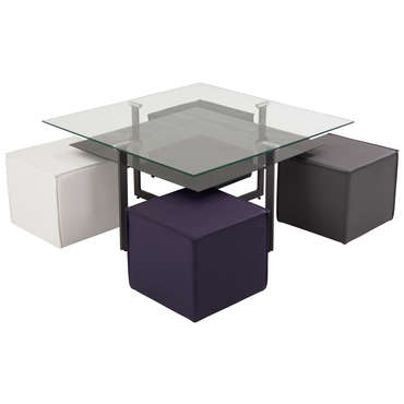 Table basse + 4 poufs