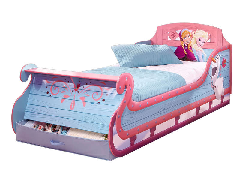 lit traineau junior avec espace de rangement disney reine des neiges vente de lit enfant. Black Bedroom Furniture Sets. Home Design Ideas