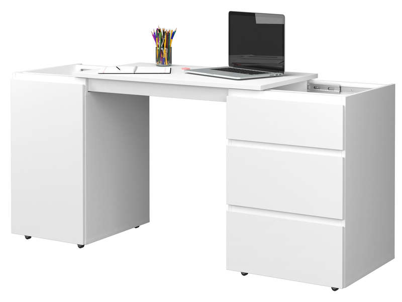 bureau slide coloris blanc vente de bureau conforama. Black Bedroom Furniture Sets. Home Design Ideas