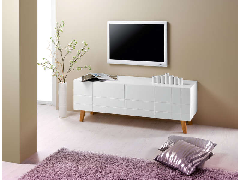Meuble tv 140 cm finition laqu london coloris blanc for Tv 140 cm conforama