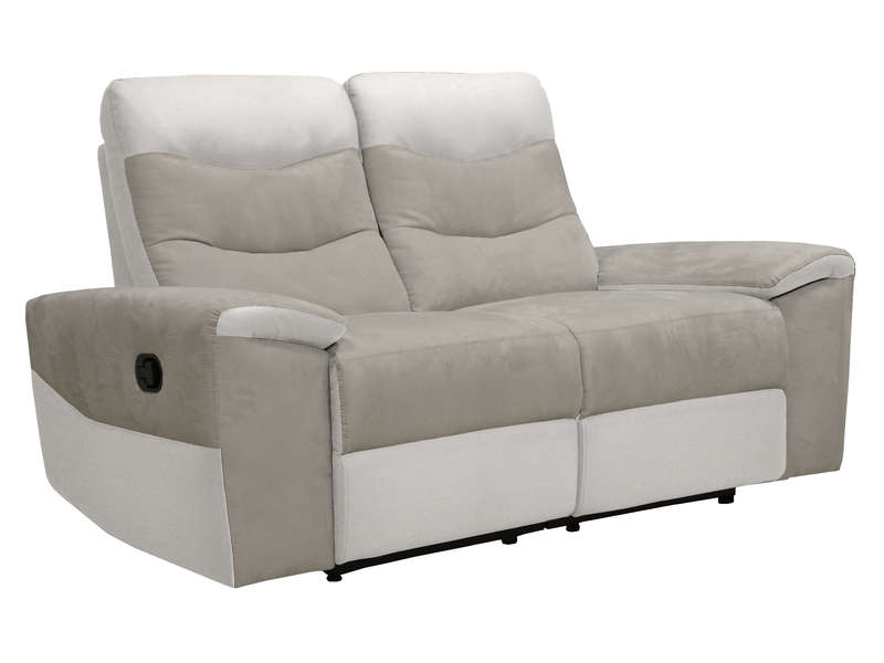 Canap fixe relaxation manuel 2 places en tissu foster for Canape 2 places conforama
