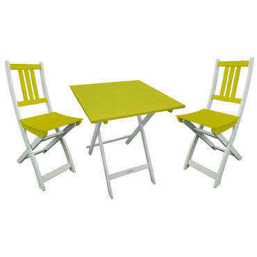 Ensemble table carrée + 2 chaises