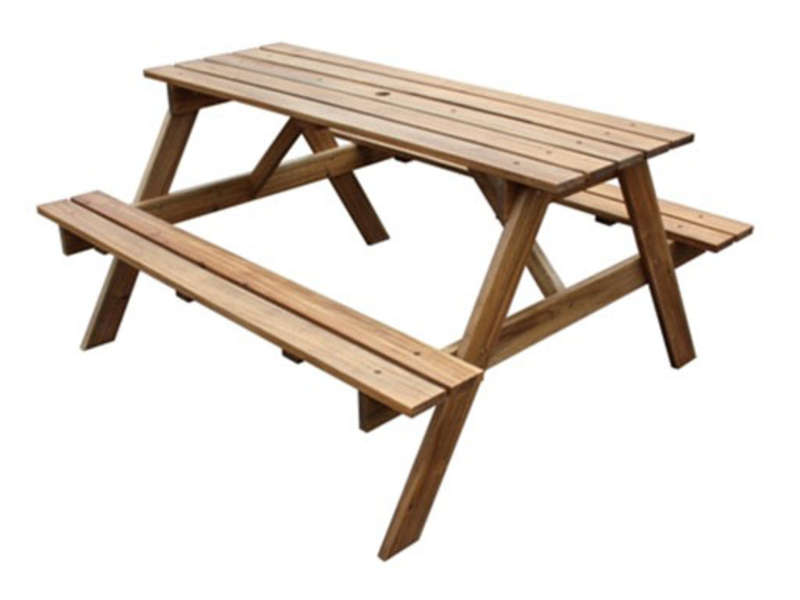 Table de jardin + 2 bancs en acacia massif - Vente de Ensemble table ...