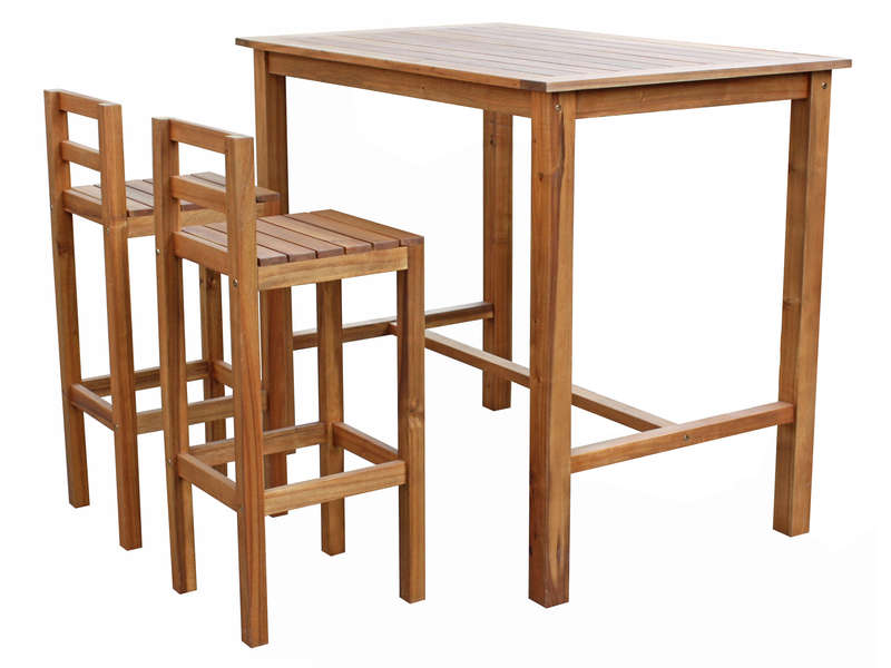 Ensemble table haute 2 chaises de jardin en acacia for Table de cuisine chaises
