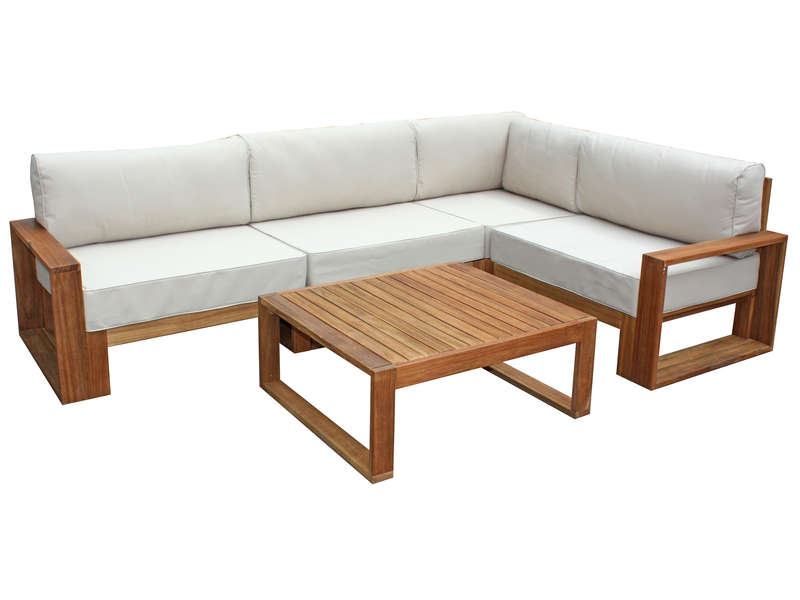 Salon d\'angle de jardin 5 places + table basse en acacia ...