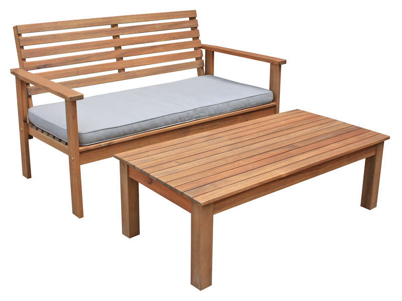 Table basse banc de jardin en acacia massif mara vente for Table de jardin conforama