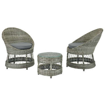 Salon de jardin: 2 fauteuils ronds+1 table basse ronde