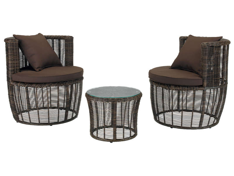 Salon de jardin:2 fauteuils ronds + 1 table basse ronde