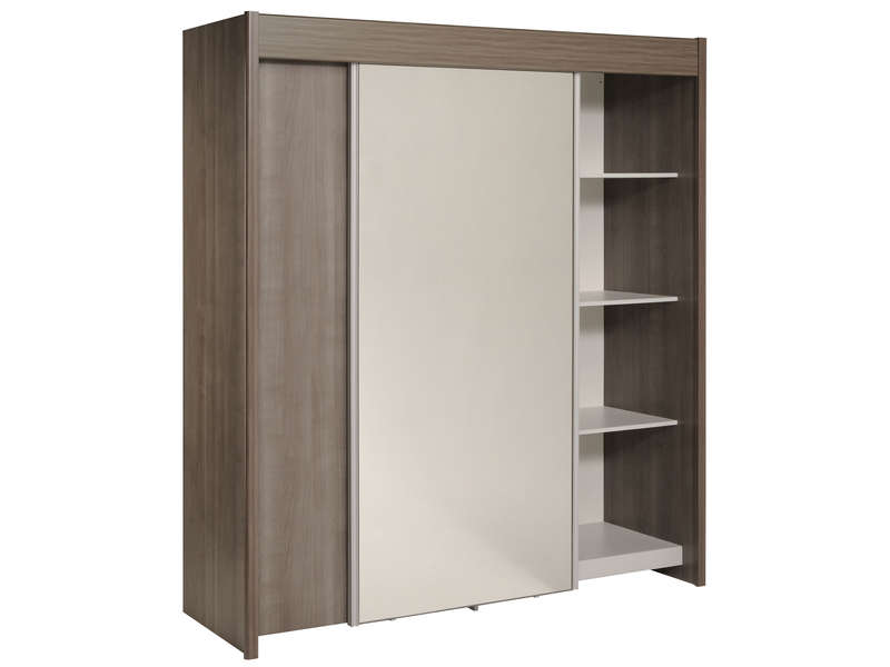 armoire 2 portes coulissantes easy 3 coloris noyer silver vente de armoire conforama. Black Bedroom Furniture Sets. Home Design Ideas