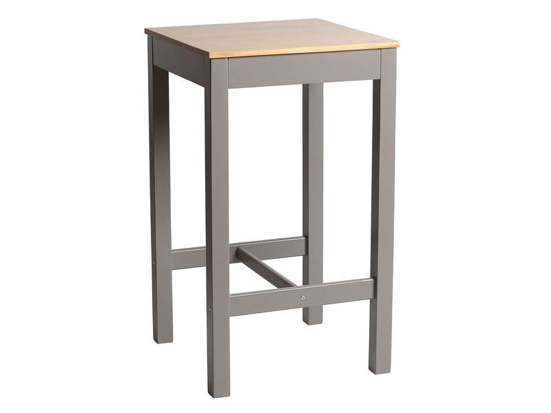 Table haute 60x60 cm bruges coloris gris ch ne vente de table conforama for Table console pour cuisine