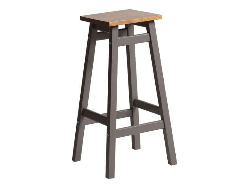 tabouret haut bruges coloris gris ch ne vente de bar et. Black Bedroom Furniture Sets. Home Design Ideas