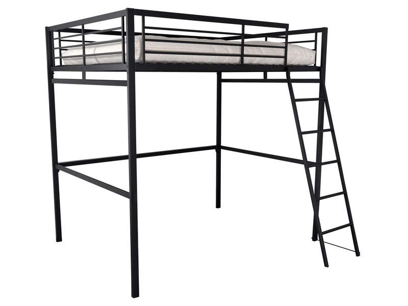 Lit mezzanine 140x190 cm terri 2 coloris noir vente de for Lit mezanine 2 places