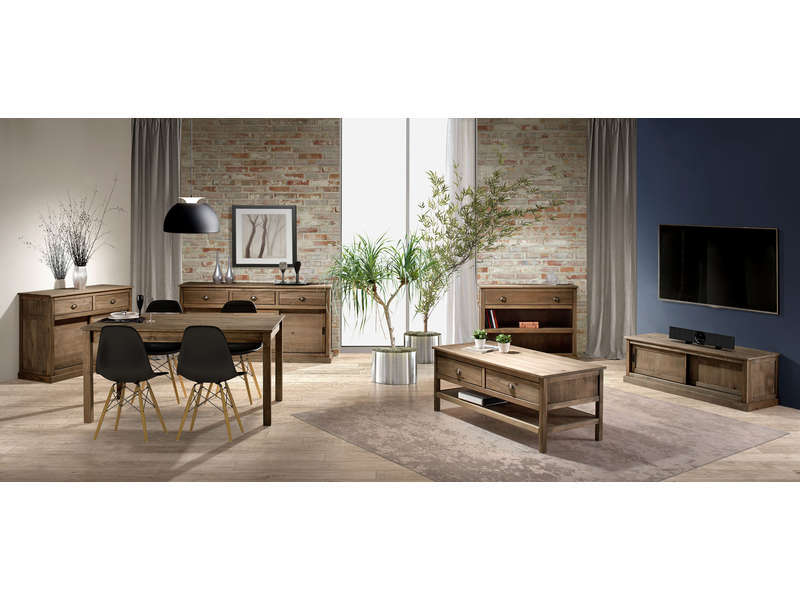 Table rectangulaire avec allonge 220 cm max along en pin for Table sejour conforama
