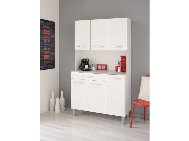 Buffet de cuisine spoon coloris blanc vente de buffet de for Buffet de cuisine gris