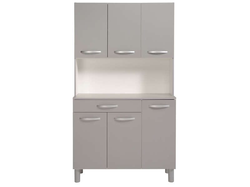 Buffet de cuisine spoon color gris vente de buffet de for Buffet de cuisine conforama