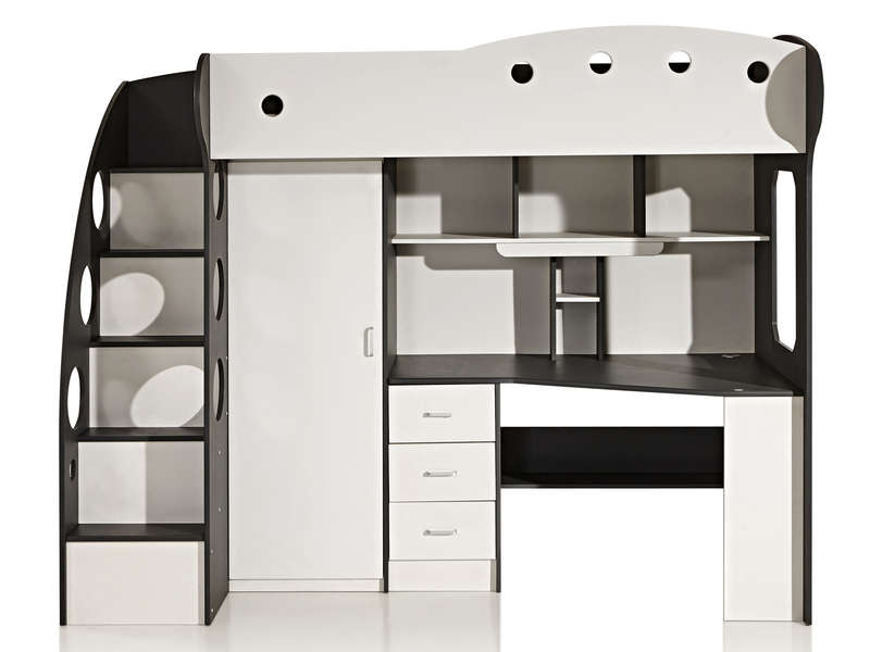 lit mezzanine 90x190 cm sunny coloris blanc gris vente. Black Bedroom Furniture Sets. Home Design Ideas
