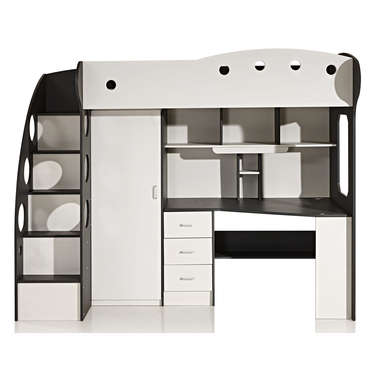 lit mezzanine 90x190 cm sunny coloris blanc gris vente de lit enfant conforama. Black Bedroom Furniture Sets. Home Design Ideas