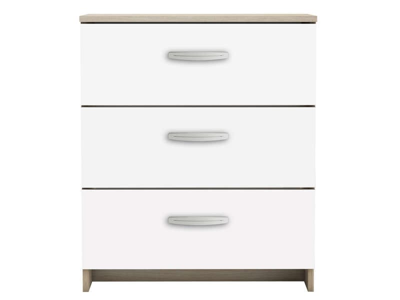 Commode 3 tiroirs nano coloris blanc ch ne shannon for Bureau 70 cm de large