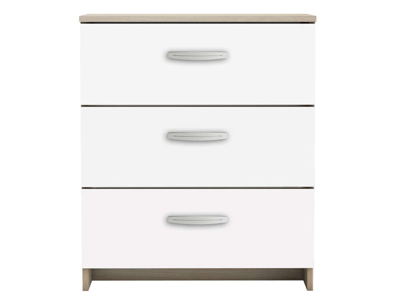 Commode 3 tiroirs nano coloris blanc ch ne shannon vente de commode conforama - Commode chambre adulte alinea ...