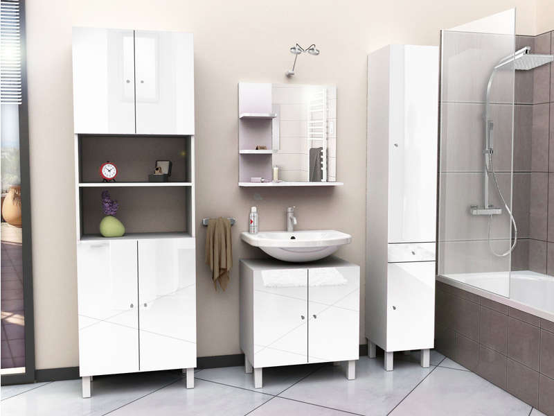 meuble sous lavabo soramena coloris blanc vente de. Black Bedroom Furniture Sets. Home Design Ideas
