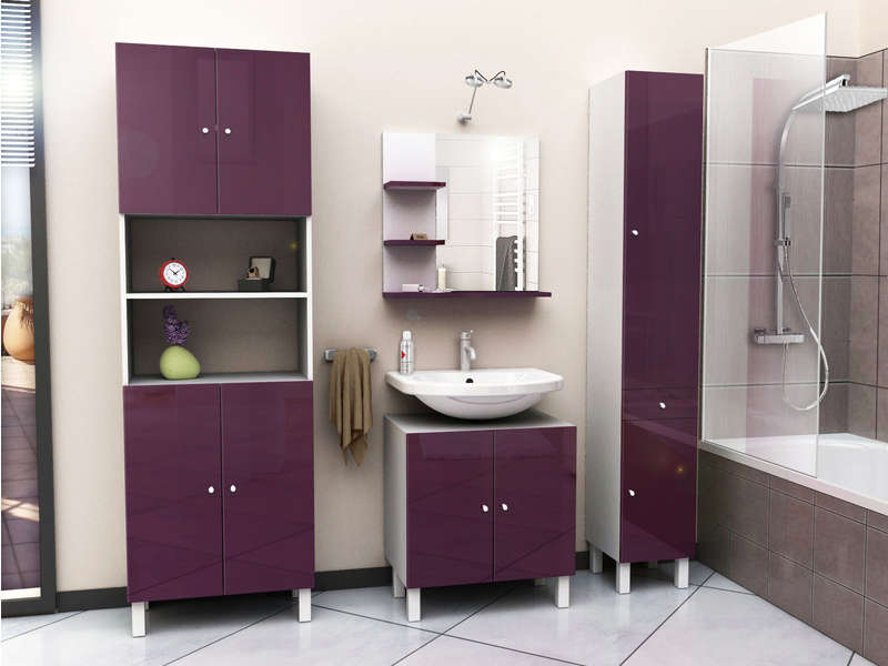 sous lavabo cm soramena coloris aubergine vente de. Black Bedroom Furniture Sets. Home Design Ideas