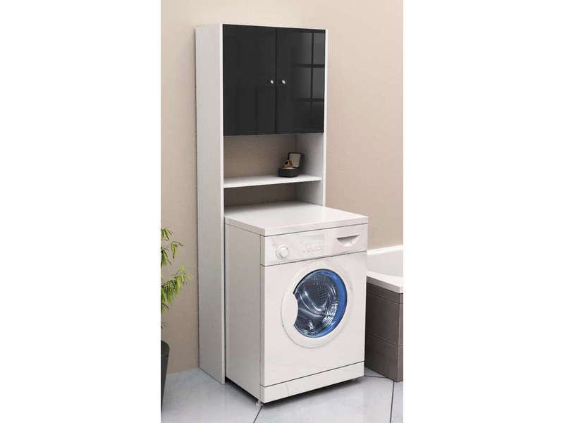 meuble de rangement wc machine laver soramena coloris noir vente de armoire colonne. Black Bedroom Furniture Sets. Home Design Ideas