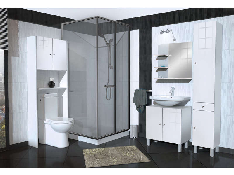 meuble de rangement wc machine laver soramena coloris blanc vente de armoire colonne. Black Bedroom Furniture Sets. Home Design Ideas
