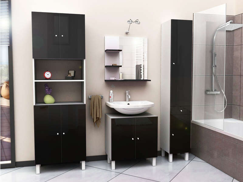 colonne de salle de bain 2 portes 1 tiroir cm. Black Bedroom Furniture Sets. Home Design Ideas
