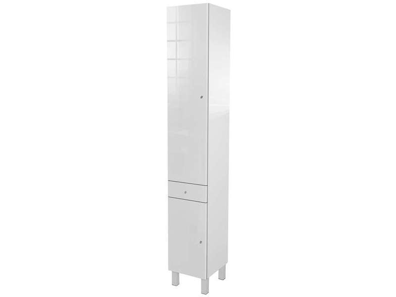 colonne de salle de bain 2 portes 1 tiroir soramena coloris blanc vente de armoire colonne. Black Bedroom Furniture Sets. Home Design Ideas