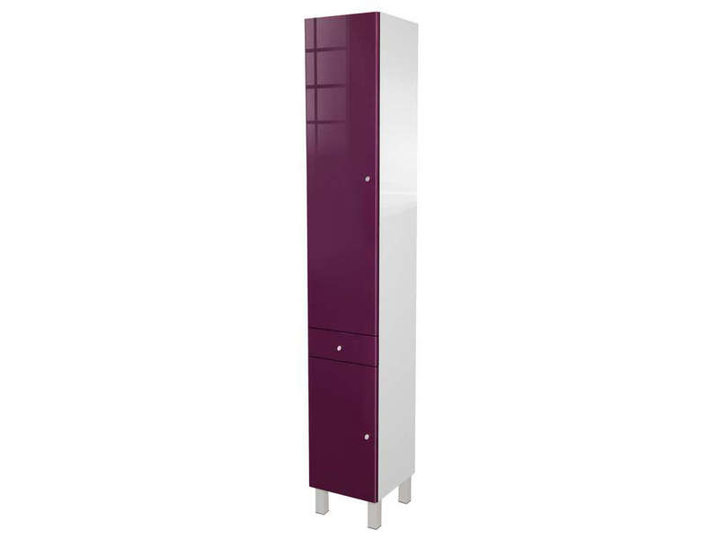 colonne de salle de bain 2 portes 1 tiroir soramena coloris aubergine chez conforama. Black Bedroom Furniture Sets. Home Design Ideas