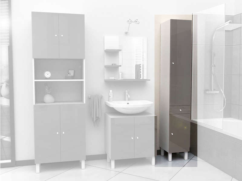 colonne de salle de bain 2 portes 1 tiroir cm soramena coloris taupe vente de armoire. Black Bedroom Furniture Sets. Home Design Ideas