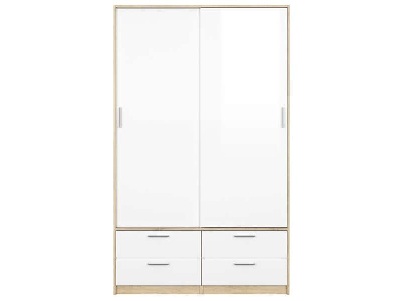 armoire 2 portes 4 tiroirs lake coloris blanc ch ne sonoma vente de armoire conforama. Black Bedroom Furniture Sets. Home Design Ideas