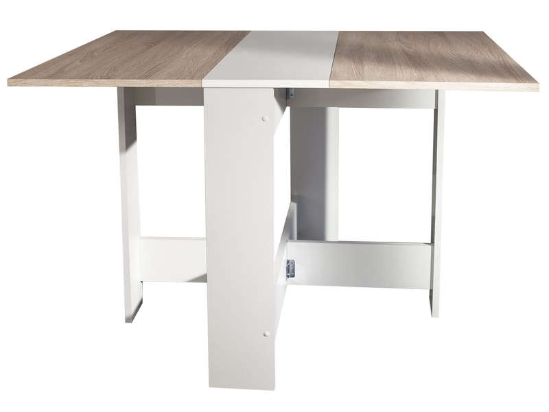 Table de cuisine pliante sishui coloris blanc ch ne for Table cuisine rabattable conforama