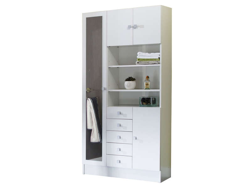 armoire de salle de bain 1 miroir 4 portes 5 tiroirs weni coloris blanc vente de armoire. Black Bedroom Furniture Sets. Home Design Ideas