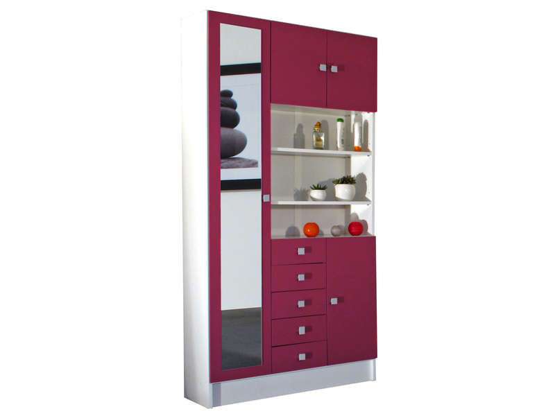 armoire de salle de bain 1 miroir 4 portes 5 tiroirs weni coloris blanc fuchsia chez conforama. Black Bedroom Furniture Sets. Home Design Ideas
